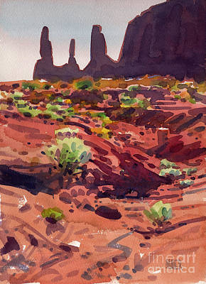 Monument Valley Painting - Three Sisters by Donald Maier