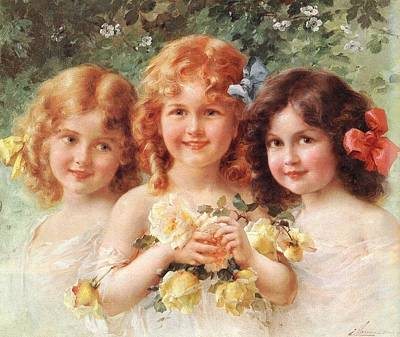 Three Girls Digital Art - Three Sisters by Emile Vernon