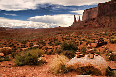 Photograph - Three Sisters - Monument Valley by Lana Trussell