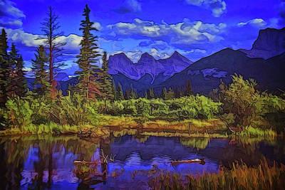 Digital Art - Three Sisters Peaks by Richard Farrington