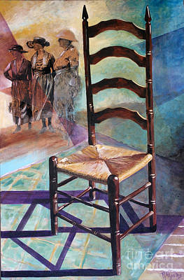 Ladder Back Chairs Painting - Three Sisters by Rebecca Myers