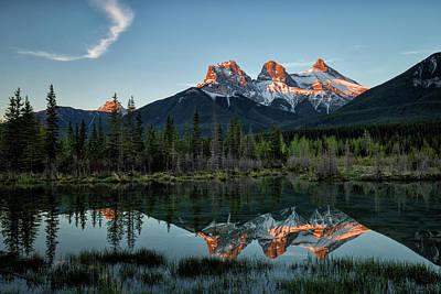 Photograph - Three Sisters Sunrise by Celine Pollard
