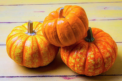Photograph - Three Small Pumpkins by Garry Gay