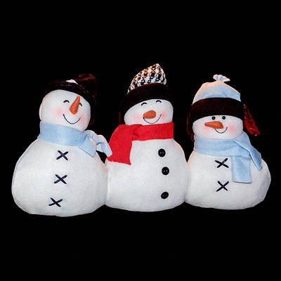 Photograph - Three Snowmen On Black by Joni Eskridge