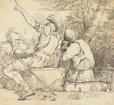 Drawing - Three Soldiers In Armour Sitting On Stone Blocks by John Hamilton Mortimer