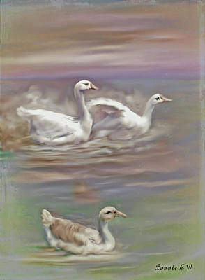 Digital Art - Three Splashing Geese by Bonnie Willis