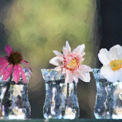 Photograph - Three Square Flowers by Modern Art