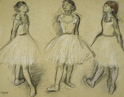 Three Studies Of A Dancer In Fourth Position Art Print by Edgar Degas