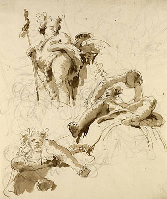 Drawing - Three Studies Of The God Bacchus by Treasury Classics Art