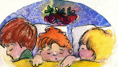 Plum Mixed Media - Three Sugar Plum Dreamers by Mindy Newman