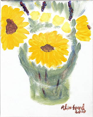 Painting - Three Sunflowers 2 by Richard W Linford