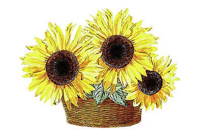 Baby Painting - Three Sunflowers In The Basket by Irina Sztukowski