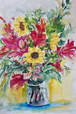 Painting - Three Sunflowers by Ingrid Dohm