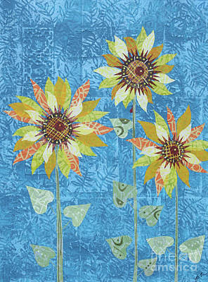 Mixed Media - Three Sunflowers by Janyce Boynton