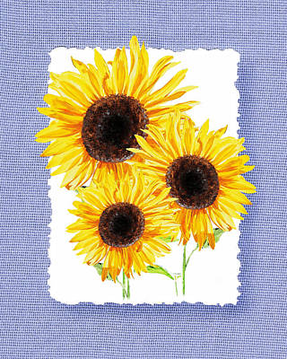 Painting - Three Sunflowers On Baby Blue by Irina Sztukowski