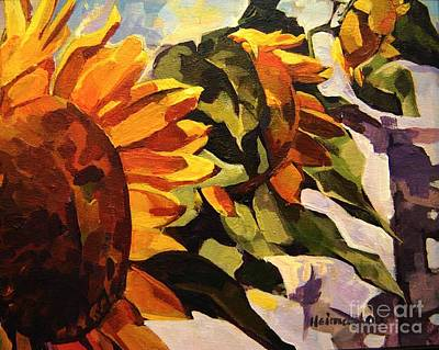 Art Print featuring the painting Three Sunflowers by Tim  Heimdal