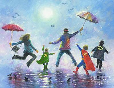 Three Brothers Painting - Three Super Hero Boys by Vickie Wade