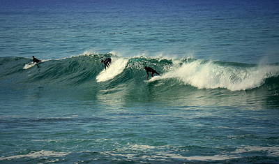 Photograph - Three Surfers One Wave by Joyce Dickens