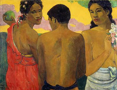 Painting - Three Tahitians, 1899. by Paul Gauguin