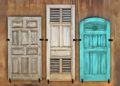 Three Taos Doors Art Print by Sharon Foster