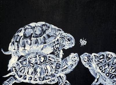 Painting - Three  Terrapins And One Fly by Fabrizio Cassetta