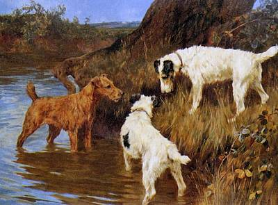 Painting - Three Terriers On The Scent by Celestial Images