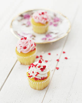 Print featuring the photograph Three Tiny Cupcakes by Rebecca Cozart