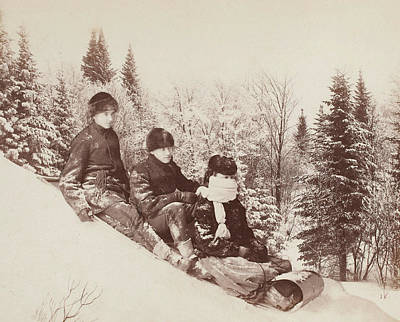 Eve Photograph - Three Tobogganers On A Snowy Hill by Alexander Henderson