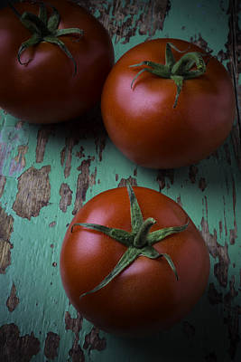 Three Tomatoes Art Print by Garry Gay