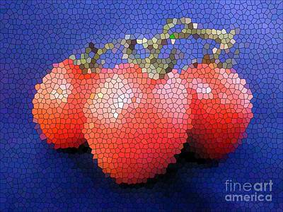 Photograph - Three Tomatoes In Stained Glass Effect by Barbie Corbett-Newmin