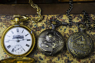Three Train Pocket Watches Art Print by Garry Gay