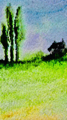 Mixed Media Royalty Free Images - Three Trees and a House Royalty-Free Image by Modern Art