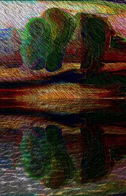 Mixed Media - Three Trees At The Lake by Lenore Senior
