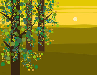 Three Trees In The Spring Art Print