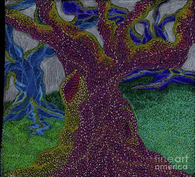 Colored Pencil Abstract Drawing - Three Trees by Kim Sy Ok
