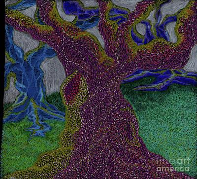 Blue Drawing - Three Trees by Kim Sy Ok