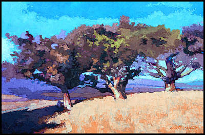 Painting - Three Trees On A Hill by John Lautermilch
