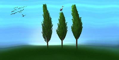 Forest Digital Art - Three Trees by Ralph Klein