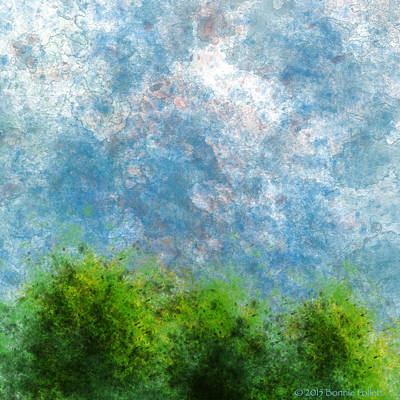Digital Art - Three Trees With Clouds Full Color Version by Bonnie Follett