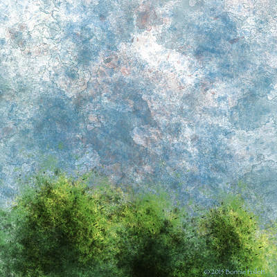Digital Art - Three Trees With Clouds Muted Version by Bonnie Follett