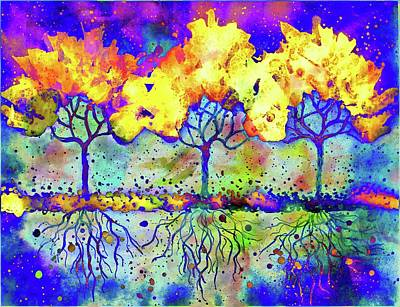 Mixed Media - Three Tress by Lilia D