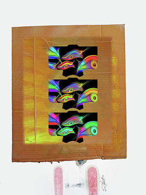 Cardboard Mixed Media - Three Tsunami Kimono by Charles Stuart