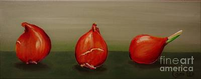 Painting - Three Tulip Bulbs by Cami Lee
