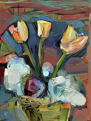 Mixed Media - Three Tulips by Russell Pierce