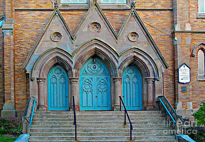 Photograph - Three Turquoise Doors by Ethna Gillespie