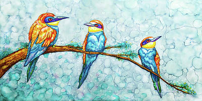 Painting - Three Tweets by Jennifer Allison