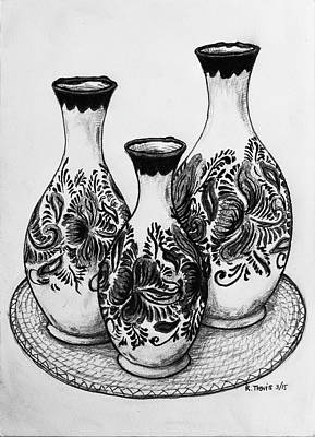 Wall Art - Drawing - Three Vases by Rich Travis