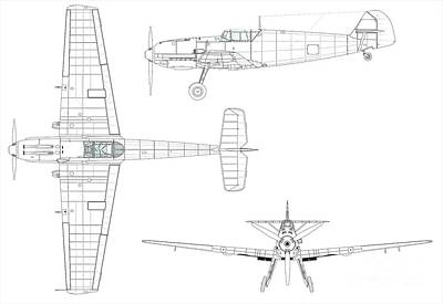 Cockpit Painting - Three-view Drawing Of The Bf 109e-3 by Celestial Images
