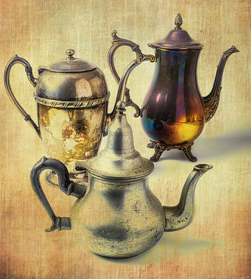 Photograph - Three Vintage Tea Pots by Garry Gay