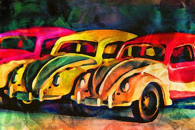 Multi Colored Digital Art - Three Volkswagens by Jeff  Gettis